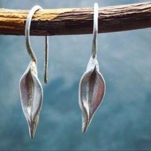 Sterling silver leaf organic shaped leaves